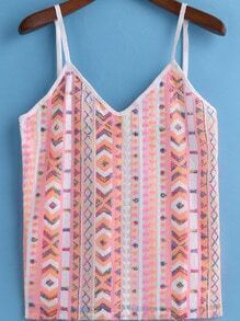 Pink Spaghetti Strap Sequined Cami Top