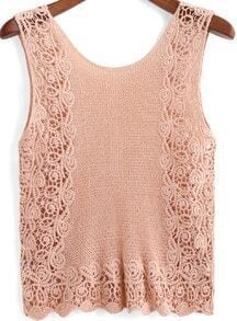 Camel Round Neck Floral Crochet Tank Top