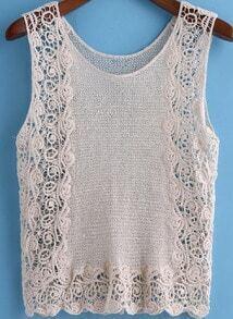 Beige Round Neck Floral Crochet Tank Top