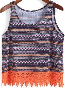 Multicolor Round Neck Geometric Print Tank Top