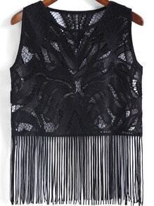 Black Round Neck Hollow Lace Tassel Tank Top