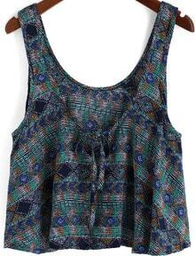 Green Scoop Neck Striped Tribal Print Tank Top