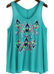 Turquoise Scoop Neck Embroidered Chiffon Tank Top