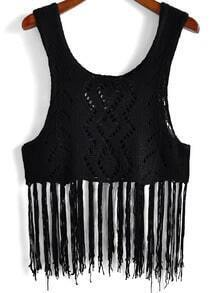 Black Scoop Neck Hollow Knit Tassel Tank Top