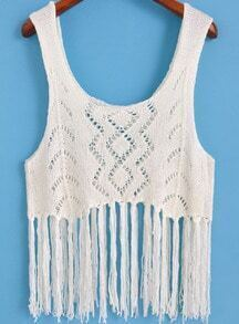White Scoop Neck Hollow Knit Tassel Tank Top