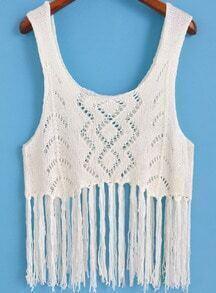 White Scoop Neck Hollow Knit Tassel Tank Top