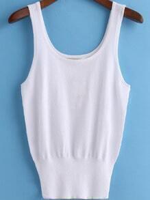 White Scoop Neck Strap Knit Tank Top