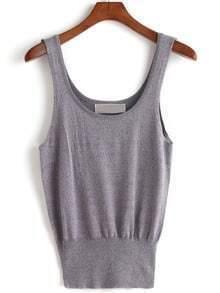 Grey Scoop Neck Strap Knit Tank Top