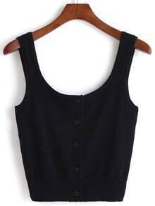 Black Scoop Neck Knit Crop Tank Top