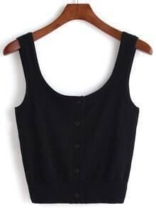 Black Scoop Neck Knit Crop Tank Top