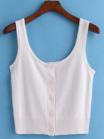 White Scoop Neck Knit Crop Tank Top