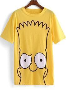 Yellow Short Sleeve Simpson Print T-Shirt