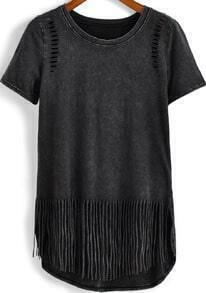 Black Short Sleeve Hollow Tassel T-Shirt