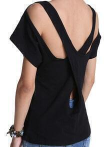 Black Criss Cross Back Loose T-Shirt