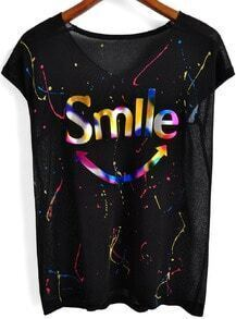 Black Short Sleeve Smile Print T-Shirt