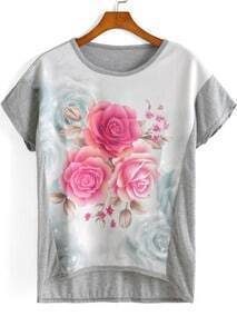 Grey Short Sleeve Rose Print Dip Hem T-Shirt