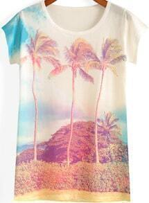 White Short Sleeve Coconut Tree Print T-Shirt