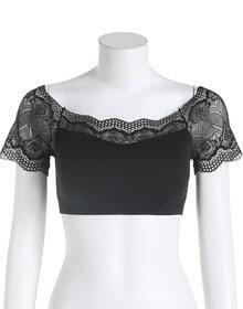Black Lace Short Sleeve Crop Lingerie