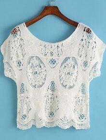 chemise court torsadé -blanc