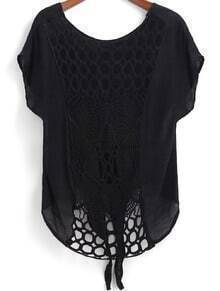 Black Short Sleeve Hollow Knotted Blouse