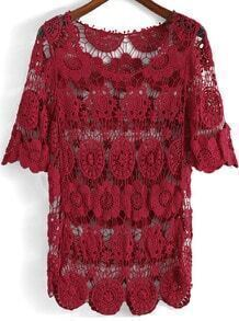 Red Half Sleeve Hollow Floral Crochet Blouse