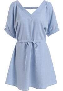 Blue V Neck Drawstring Plaid Loose Dress