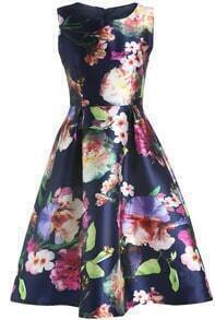 Navy Magaschoni Round Neck Watercolor Sleeveless Patterned Floral Flare Dress