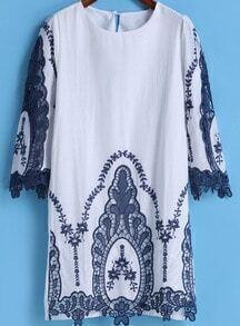 White Half Sleeve Embroidered Straight Dress