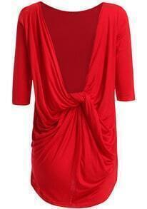 Red Round Neck Half Sleeve Backless Dress