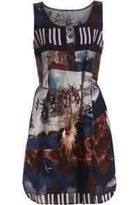 Blue Scoop Neck Floral Tie-waist Dress