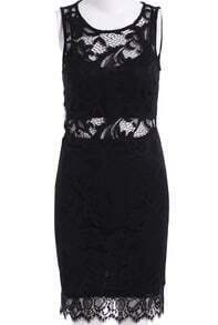 Black Sleeveless Lace Bodycon Dress