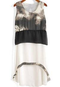White Sleeveless Floral High Low Chiffon Dress