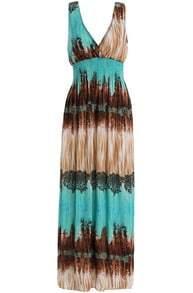 Turquoise V Neck Sleeveless Backless Maxi Dress