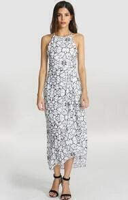 White Spaghetti Strap Crackle Print Dress