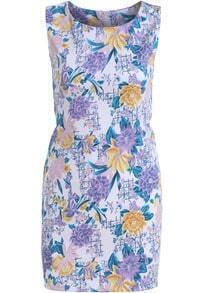 Purple Sleeveless Floral Slim Bodycon Dress