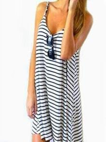 Black White Spaghetti Strap Striped Loose Dress