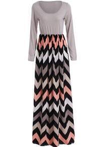 Grey Long Sleeve Zigzag Print Maxi Dress