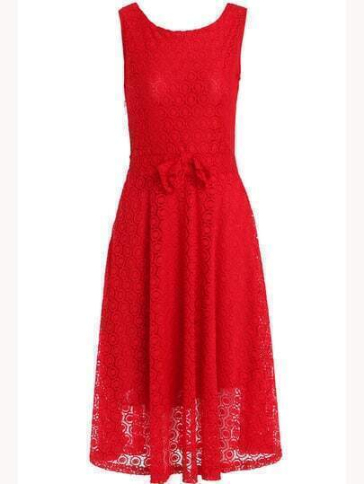 Red Sleeveless Floral Crochet Bow Lace Dress