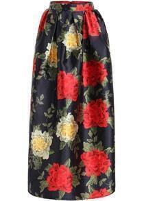 Black High Waist Floral Long Skirt