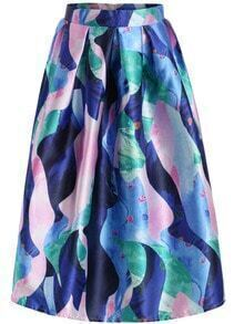 Blue High Waist Floral Flare Skirt