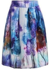 Purple Tree Print Flare Skirt