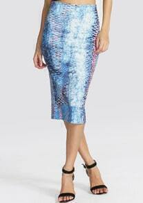 Blue Snakeskin Print Slim Skirt