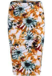 Yellow Slim Sunflower Print Skirt