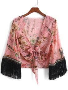 Pink V Neck Floral Knotted Tassel Kimono