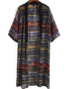 Black Half Sleeve Striped Chiffon Kimono