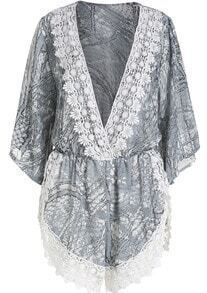 Grey V Neck Lace Chiffon Jumpsuit