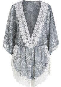 Grey V Neck Lace Chiffon Jumpsuit