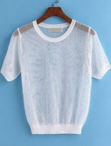 White Short Sleeve Hollow Knit Sweater