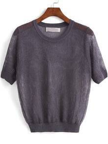 Grey Short Sleeve Hollow Knit Sweater