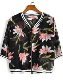 Black Floral Zipper Crop Chiffon Coat